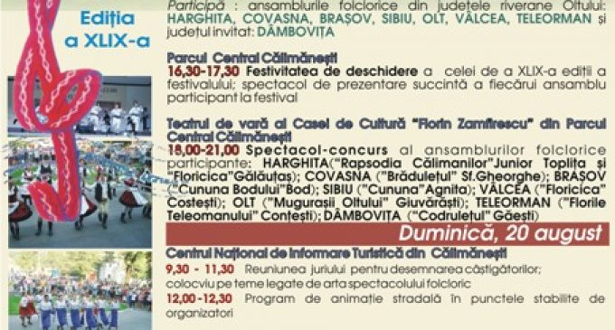 """De sâmbătă, 20 august, Festivalul """"Cântecele Oltului"""" răsună la Călimăneşti"""