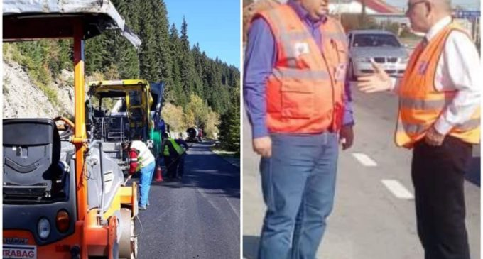 Drumul care duce la pârtia de schi de la Voineasa, în plin proces de modernizare