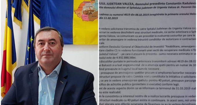 """Primarul oraşului Bălceşti, Constantin Aleca dezminte spusele directorului SJU Vâlcea, Dan Ponoran: """"Nu este adevărat că nu mai dorim acel serviciu medical şi că dorim altceva"""""""