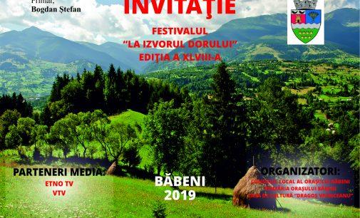 În perioada 30 august – 1 septembrie, oraşul Băbeni va deveni capitala portului popular şi a tradiţiilor strămoşeşti