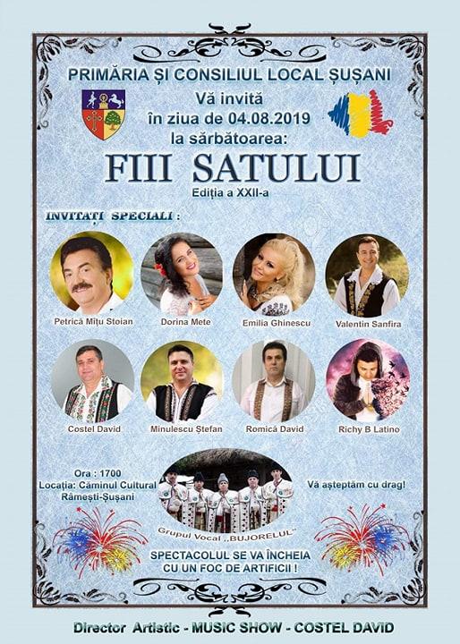 """Pe 4 august, """"Fiii satului"""" şi-au dat întâlnire la Şuşani, pentru o nouă ediţie a Zilei Comunei"""