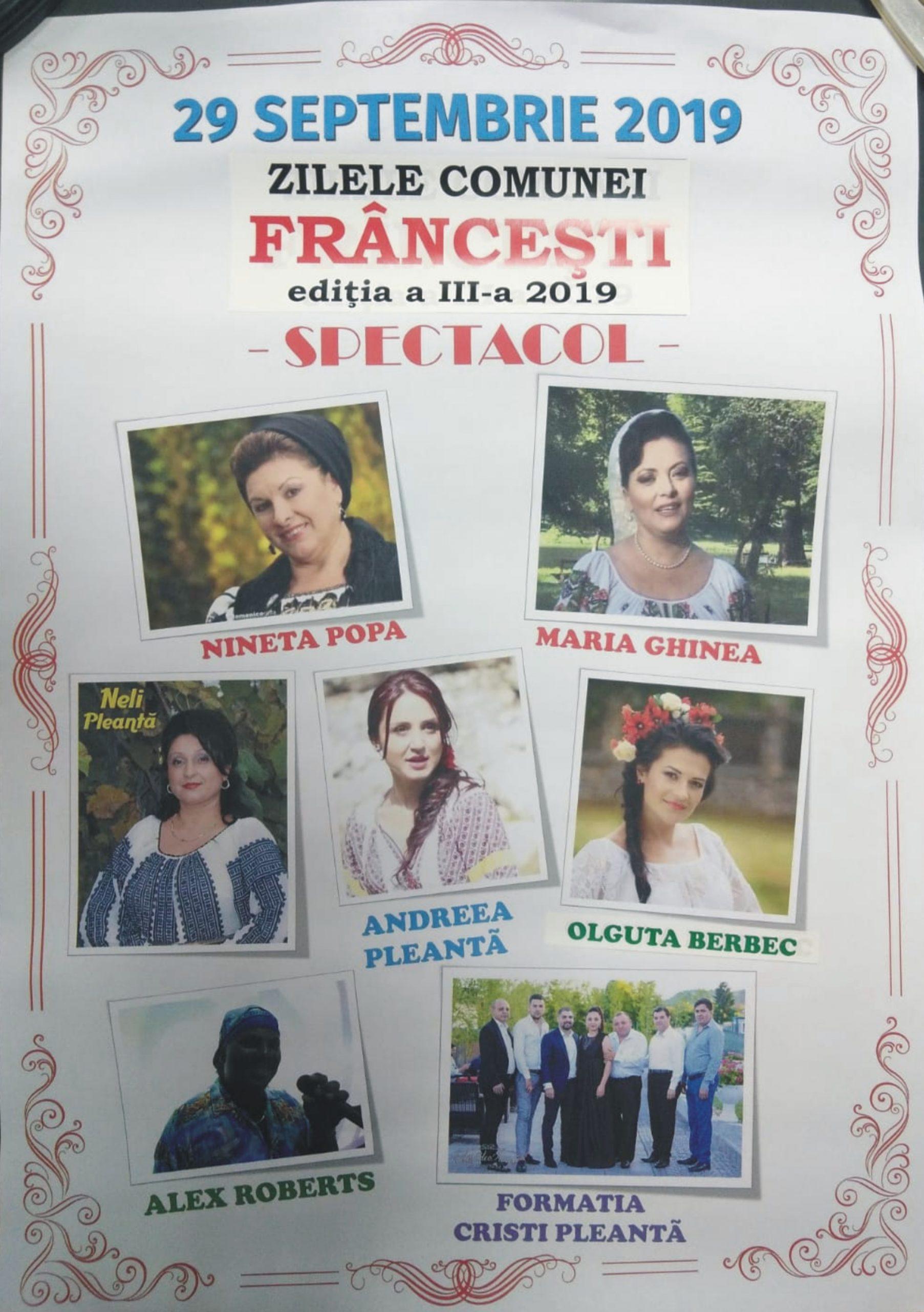 Pregătirile sunt în toi, pentru Ziua comunei Frâncesti Evenimentul mult-aşteptat de întreaga comunitate va avea loc dumincă, 29 septembrie