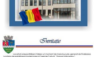 """Casa de Cultură """"Dragoş Vrânceanu""""  va fi inaugurată joi,  24 octombrie,  cu o serie de evenimente"""
