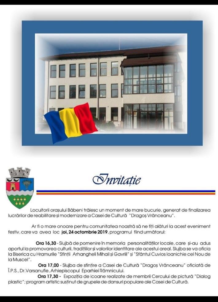 """La Băbeni, Casa de Cultură """"Dragoş Vrânceanu""""  va fi inaugurată joi,  24 octombrie,  cu o serie de evenimente"""