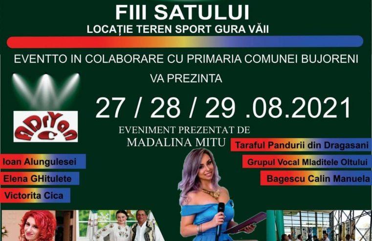 """Sărbătoarea tradiţională """"Zilele comunei Bujoreni"""" are loc pe stadionul din Gura Văii"""