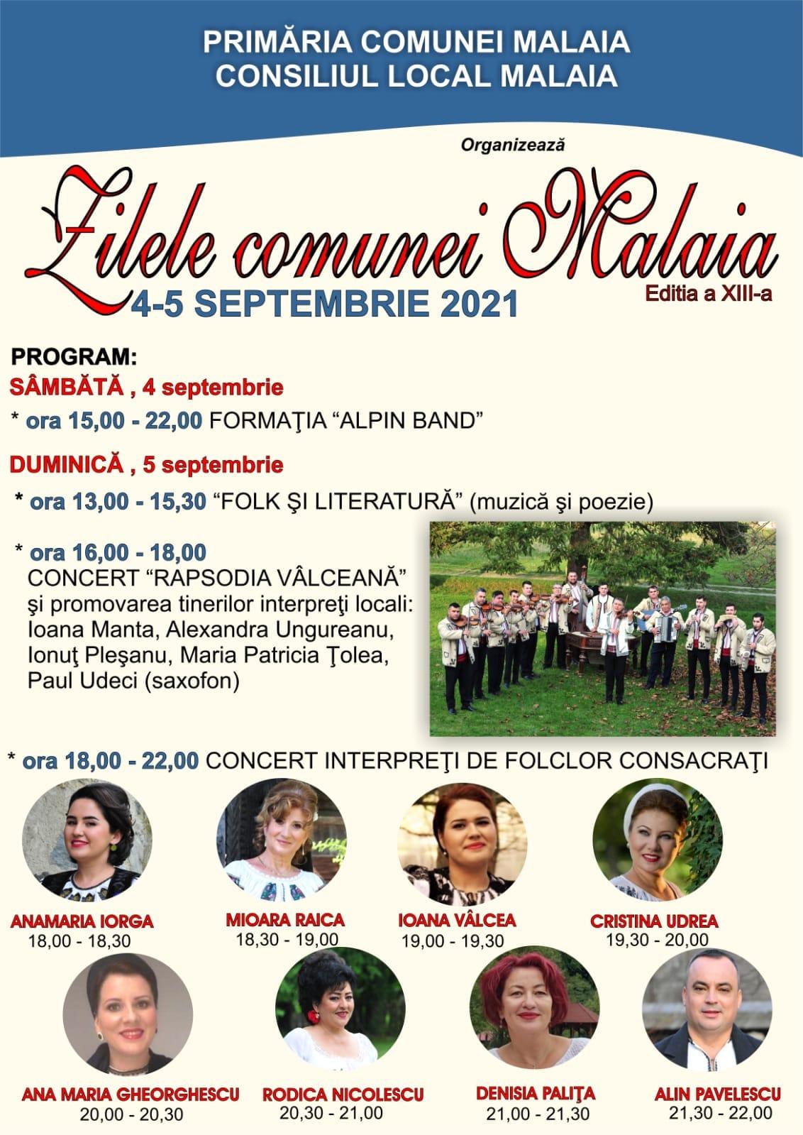Zilele Comunei Malaia, ediția a XIII-a 4-5 septembrie