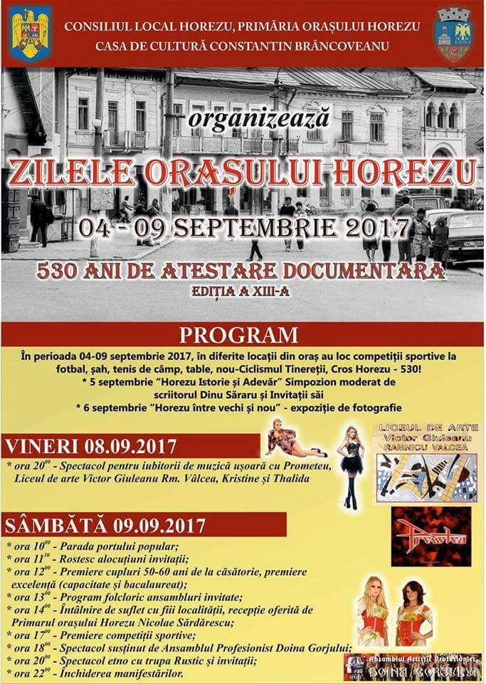 În perioada 4-9 septembrie vor avea loc Zilele oraşului Horezu