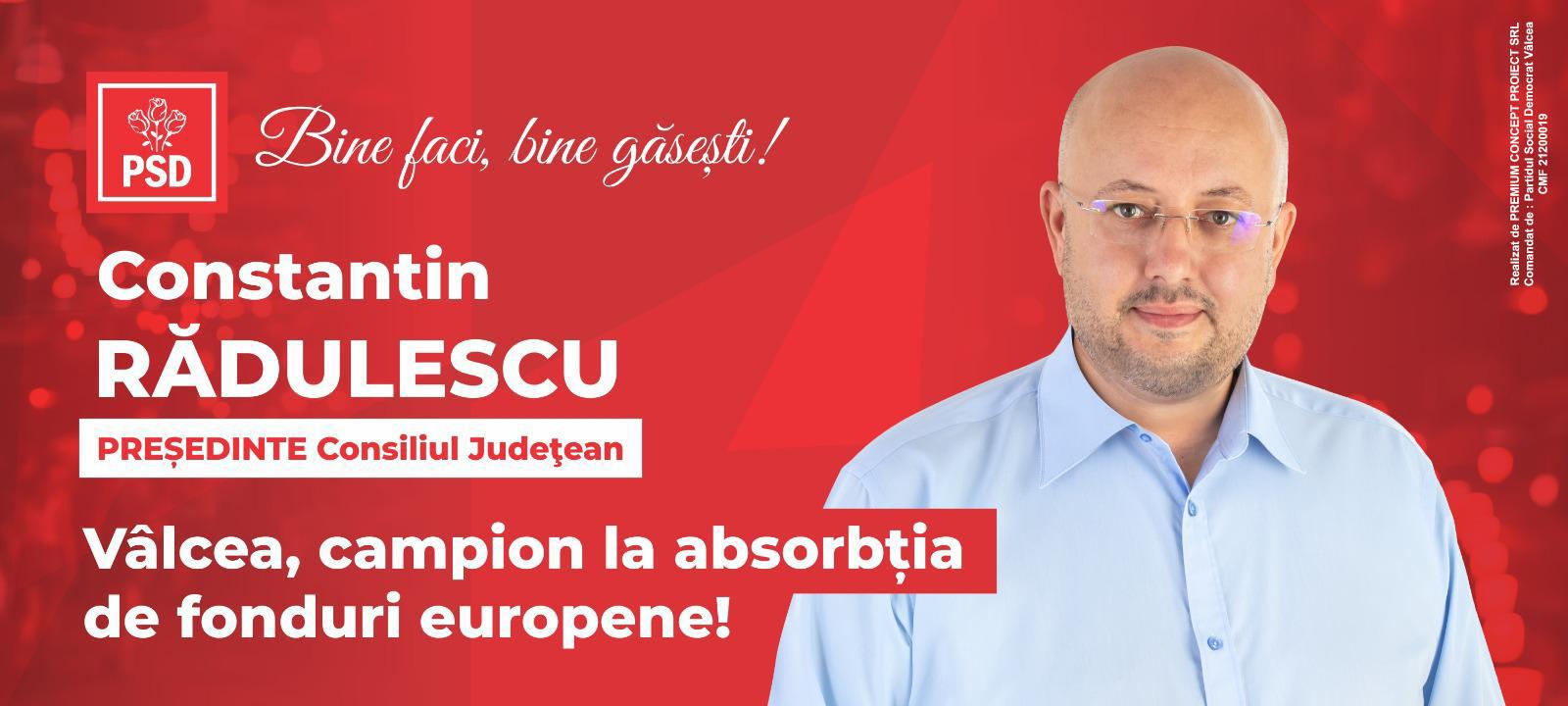 Județul Vâlcea, campion în atragerea de fonduri europene, în mandatul președintelui Constantin RĂDULESCU