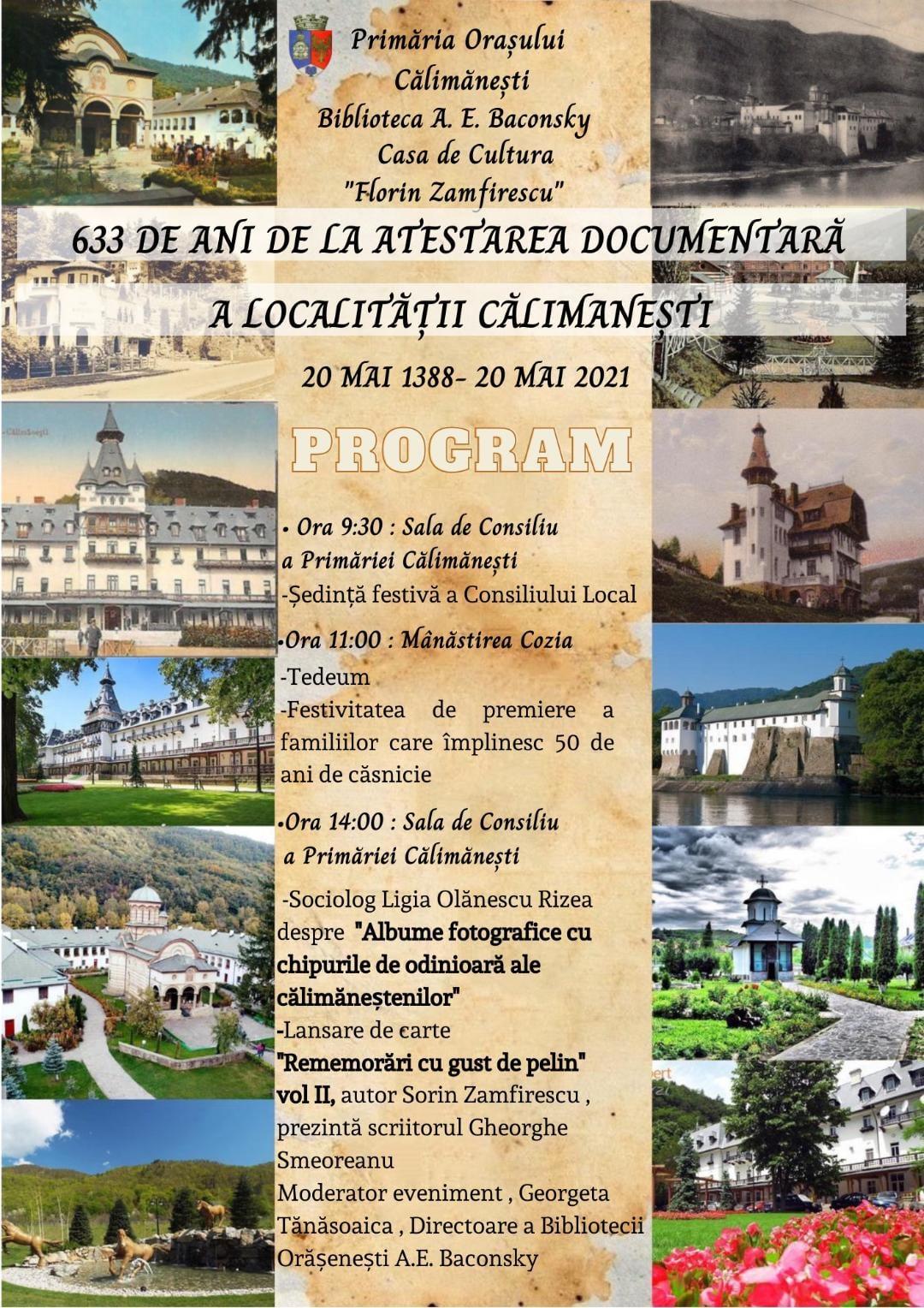 633 de ani de la atestarea documentară a localității Călimănești, 20 mai 1388 – 20 mai 2021
